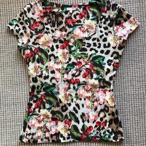 Leopard/flower print t-shirt